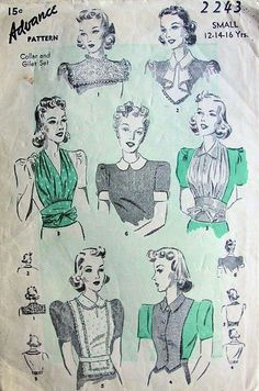 Advance 2243 Collar and Gilet Jabot Pattern 6 Great Styles- Authentic vintage sewing patterns: This is a fabulous original dress making pattern, not a copy. Because the sewing patterns are vintage and preowned, we check each vintage sewing patt Dress Making Patterns, Vintage Dress Patterns, Clothing Patterns, Vintage Dresses, Vintage Outfits, 1930s Fashion, Vintage Fashion, Patron Vintage, Retro Mode