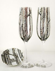 Personalized Birch Tree Toasting Flutes and Ring Dish-3 Piece Personalized Wedding Collection by Mary Elizabeth Arts