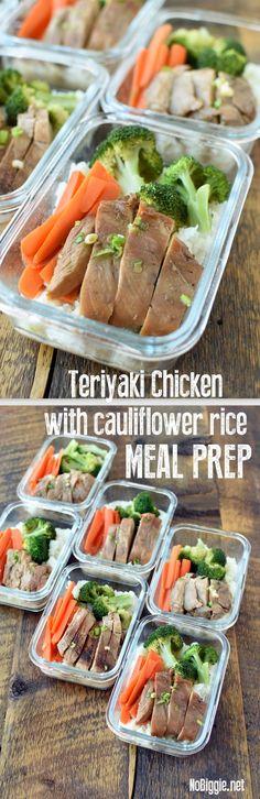 Teriyaki Chicken with Cauliflower Rice Meal Prep via @nobiggie