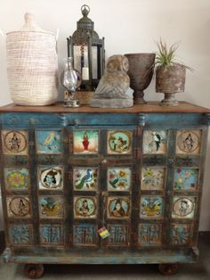 Reverse glass painted chest.