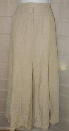 CABI Skirt Sz Large Beige Linen Women's Pull On Career Gore Tiered Smock Ladies #cabi #FullSkirt