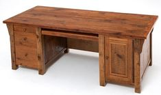 WoodLand Creek Furniture, Barnwood Rustic Office Desk - 3 Drawer and One Door…