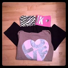 Victoria Secret Bundle  Capri PINK Yogas. Wide leg capris.  Not fitted to your calf  Zebra top is in great condition! Pink heart top is a worn. Brown PINK zip up in first photo posted separately on my page as well. All a size small!   ✨ BUNDLE DEALS ✨ Or singled ✔️ - Both Yogas & Brown Zip-up  $45 REDUCED - $40 - Both Yogas Only  $28 - Zebra Yogas  $20 - Pink heart Yogas  $12 Always welcome to make an offer as well  PINK Victoria's Secret Pants Leggings