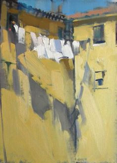 I love the simplicity of this beautiful painting. The shadows and the lovely yellow hues give and warmth and interest to the painting. Nancy Colella: Simply Painting: Laundry on a Line Urban Landscape, Landscape Art, Landscape Paintings, Watercolor Landscape, Urbane Kunst, Paintings I Love, Indian Paintings, Art And Illustration, Painting Techniques