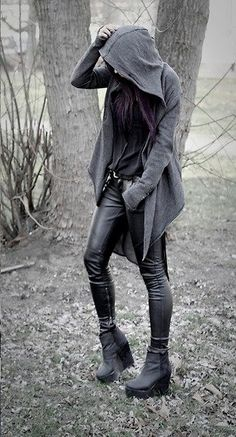 hooded sweater, ankle zipper leggings, wedge heel style ankle boots.....simple, yet not. More