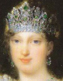 Empress Marie Louise wearing the Emerald Parure Diadem.  Made in 1810 by Francois Regnault for Etienne Nitot et fils of 79 emeralds and 1,006 diamonds, later the emeralds were replaced with 79 Persian turquoises. Provenance: Empress Marie Louise of the French; from Napoleon on the occasion of their 1810 marriage. Van Cleef & Arpels; purchased in 1953 and replaced emeralds with turquoises. National Museum of Natural History of the Smithsonian Institution.