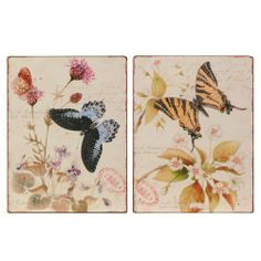 Wilco Imports Set of Two Butterfly Jeweled Metal Wall Art, 10-1/4-Inch by 13-3/4-Inch High by Wilco Imports. Save 10 Off!. $33.35. Antique casual decorative feel. Decorative wall art. Rhinestone wings add glitz and texture. Set of two metal wall art with butterflies that have rhinestone jewel studs on their wings, beautiful floral and an antique canceled stamp motif. Each measures 10-1/4-inch x 13-3/4-inch high.