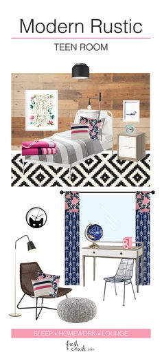 Fun & sophisticated, Modern Rustic Teen Room, Design! Great spots for sleep, homework and lounging. Wood slat wall, pink and navy details, and DIY floral and geometric curtains. Everything a little lady needs!
