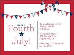 Star Stripe Banners Summer Invitation