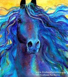 Love this watercolor blue horse by Svetlana Novikova. Find her work on CFAI.co at www.cfai.co/svetlananovikova