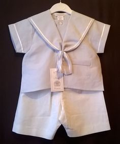 linen blend sailor suit blue and ivory christenings Easter holiday 12-18m 18-24m