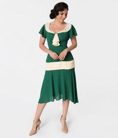 77c4892aff08 Valentines Day Dresses, Outfits, Lingerie | Red Dresses Unique Vintage  1920S Green Cream Wilshire