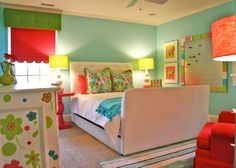 This is Katie's Biltmore room. *colors, pillows, chair, bulletin board