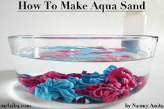 You have probably seen Aqua sand advertised on TV, but did you know that it is really easy to make your own Aqua sand at home. Things To Do Inside, Fun Things, Aqua Color, One Color, Colored Sand, Monsters, Wine Glass, Nostalgia, Childhood