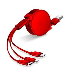 Retractable Multifunctional Charging Cord USB Fast Charging 3 in 1 for iPhone X / / Ipad/MacBook,Android,Type-C Interface Multi-Cable,Red Multifunctional, Boxing, Macbook, Cord, Usb, Iphone, Amazon, Cable, Amazons