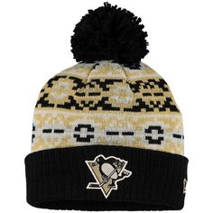 c02a6c64de3 Men s Pittsburgh Penguins New Era Black Retro Chill Cuffed Knit Hat With  Pom Knitted Hats