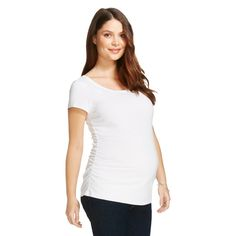 Maternity Scoop Neck Short Sleeve Tee - White L - Liz Lange for Target, Women's