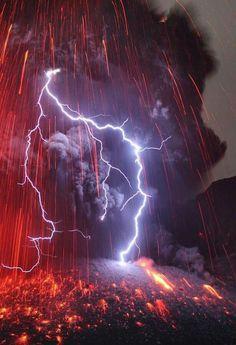 Sakurajima Volcano with Lightning.