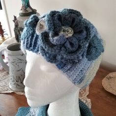 Crochet Head Wrap in Shades of Denim Blue & Grey - Ribbed One Size. Flower/Leaf with Hand Crafted Ceramic Button Centre - OOAK Ready to Ship Black Sheep, Pearl Grey, Head Wraps, Blue Denim, Snug, Crochet Top, Great Gifts, Winter Hats, Colours