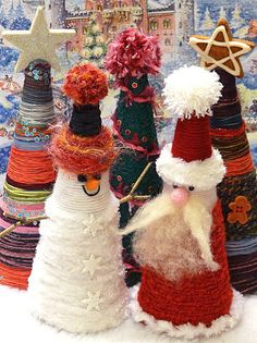Yarn-wrapped cone trees, Snowman and Santa