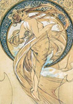 Adore Alphonse Mucha and all his lovely ladies.  Love the signature curving lines.