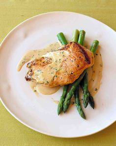 Sauteed Chicken in Mustard-Cream Sauce. Made this one- good.  Serve with asparagus.