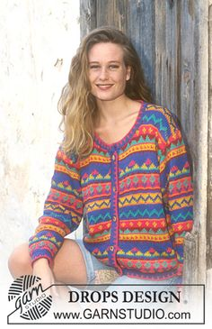 Free knitting patterns and crochet patterns by DROPS Design Free Knitting Patterns For Women, Fair Isle Knitting Patterns, Knitting Charts, Crochet Patterns, Scarf Patterns, Knitting Tutorials, Drops Design, Cardigan Pattern, Jacket Pattern