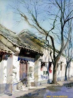 watercolor Watercolor Architecture, Watercolor Landscape, Landscape Paintings, Watercolour Painting, Watercolours, Watercolor Sketch, Urban Sketching, Watercolor Techniques, Art Plastique