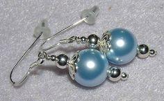 925 Silver Baby Blue Swarovski Pearl Dangle Earrings