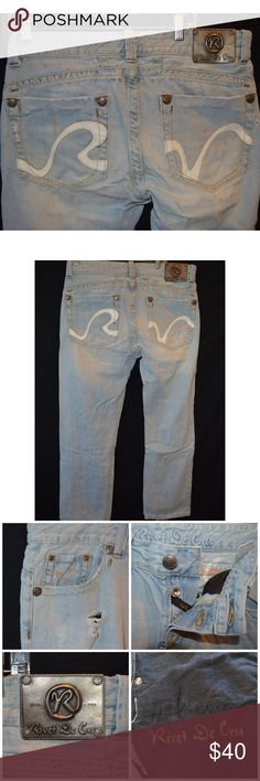 Rivet De Cru Light Wash Destroyed Slim Straight Jeans are a destroyed style,  all the rips and paint splatter is the style.  Jeans are in great used condition with normal wear on thighs and leg bottoms   Measurements taken laying flat      Waist- 18  Hip- 24  Rise- 10  Inseam-32   Thigh- 10.5  Leg Opening- 8.5     Item #  11-01 1.22 Rivet De Cru Jeans Slim Straight