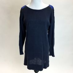 Marc by Marc Jacobs Oversized Sweater This sweater is the definition of cozy! Navy blue with cobalt patch detailing on the shoulders and elbows. Elbows are a little worn, otherwise in good used condition. Marc by Marc Jacobs Sweaters