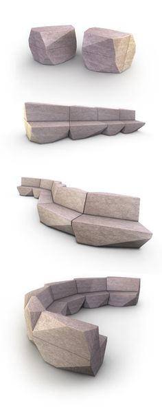 Modular and adaptable furniture-Stone Park - Master's Thesis Project by Andre Portugal
