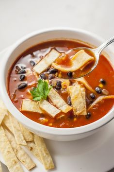 This hearty and filling vegetarian tortilla soup is a meatless, heart-healthy recipe that proves vegetarian eating can be satisfying. #recipes #healthyrecipes #healthyliving #veganrecipes