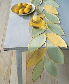 Make this unique table runner it is a great way to accent your summer table. What You Need 1 yard each of 3 colors of Linen Fabric ½...