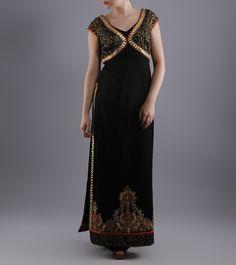 Black Moss Crepe Dress With Zardozi