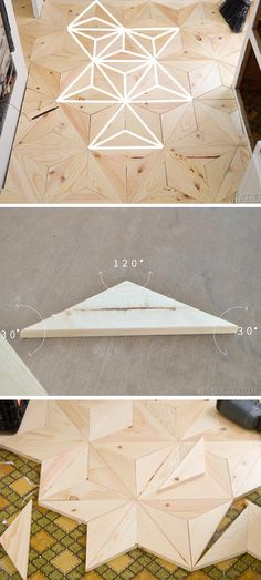 #diy geometric wood flooring