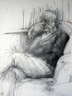 Ginny Grayson, Dad watching the Box, Charcaol and conte (No Conclusions Drawn 2008 / Fine Art Drawing, Pastel Drawing, Life Drawing, Drawing Sketches, Painting & Drawing, Art Drawings, Figure Sketching, Figure Drawing, Etching Prints