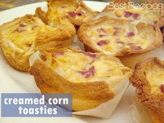 Feel like snacking? Try some Creamed Corn Toasties. Kalbasa Recipes, Lunch Box Recipes, Quiche Recipes, Snack Recipes, Cooking Recipes, Savoury Recipes, Cooking Ideas, Lunch Ideas, Dessert Recipes