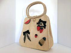 Vintage Purse/Handbag, Millinery Velvet Ribbon/Bow Strawberry, Pea Pod Pearl Applied Decorations, Japan, J.Pottel and Sons Inc - RETRO Rare