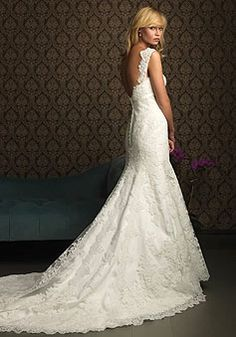 Lace A-line Straps With Beads Floor-length Chapel Train Wedding Dress picture 2