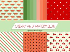 Summer digital paper with cherries and watermelon, red and green pastel colors, oblique stripes, polkadots pois, digital motif, shabby chic by GiuliaBelfioriGadget