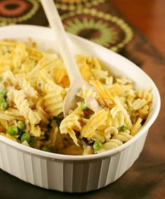tuna noodle casserole.  Mom made this when she came to help out after Dylan was born.  She used Ritz crackers on top since we didn't have potato chips.  Delicious