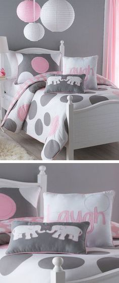 Simple Poms over the bed??? Grey & Pink Polka Dot. Great colors that you can keep in your child's room through-out there life at home!