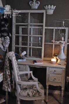 Le Craie painted Vanity in Silver Mink & Baguette/Magnolia custom mix by Vintage Charm Restored