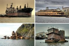 The decline of shipping has led to many abandoned ships, boats, shipyards and docks from Grytviken to the Aral Sea and Statan Island.