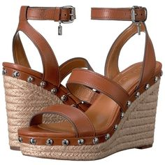COACH Darcy (Saddle) Women's Shoes (€235) ❤ liked on Polyvore featuring shoes, sandals, wedge heel sandals, coach shoes, leather wedge sandals, leather sandals and wedge sandals