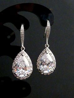 Bridal Earrings Large White Clear Pear Shaped Cubic Zirconia with White Gold Plated CZ Earrings. $38.00, via Etsy.