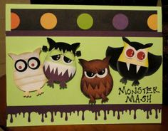 Halloween cuteness from your owl punch! Detailed tutorial on the construction of the mummy, wolfie, frankenstein and vampire monsters on this handmade card. Halloween Owl, Halloween Cards, Halloween Punch, Owl Punch Cards, Paper Punch Art, Owl Card, Scrapbooking, Scrapbook Albums, Scrapbook Cards