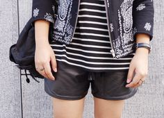 www.lovelaurenalexa.com // BANDANA // H.M.B.D. JACKET // HUNTED THE LABEL LEATHER SHORTS // DANIEL WELLINGTON WATCH