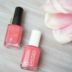 Hey babes I haven't posted a Essie dupe in a while  So here is the essie polish 'cute as a button' and the dupe for it is by Kiko in the color 'Strawberry Pink'. It has been very spring in the last couple of days so this seems like the perfect nail polish to kick off spring. Do you like it?  . . . . Hallo ihr Lieben habe ja schon ewig kein essie Dupe mehr gepostet. Hier also ein Dupe zum süßen 'cute as a button' (795). Das Dupe ist von Kiko in der Farbe 'Strawberry Pink' (momentan auf 190…